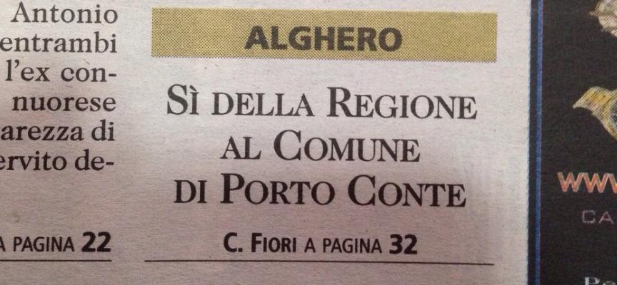 Porto Conte in prima pagina sull'Unione di oggi